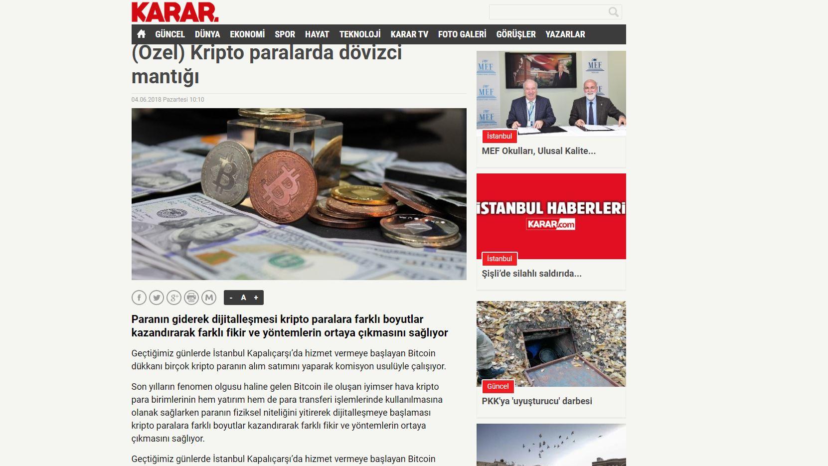 Karar.com Cointral Haberi